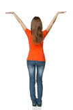 Back view of young casual female in full length holding blank copy space Stock Photo