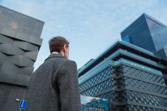 Back view of young confident man leader standing near the office building. Bottom view.  royalty free stock images