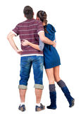 Back view of Young couple looks where that. Royalty Free Stock Photography