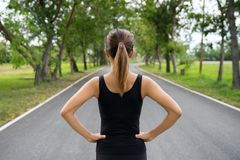 Back view of young fitness woman running on the road in the morning, People and sport concept, Selective focus.  Stock Photos