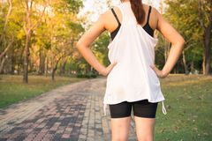 Back view of young fitness woman running on the road in the morning, People and sport concept, Selective focus. Back view of young fitness woman running on the Stock Photos