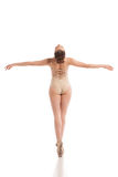 Back view of young modern ballet dancer isolated on white background Royalty Free Stock Photos