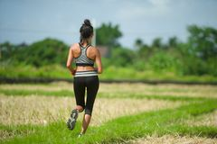 Back view of young runner woman with attractive and fit body in running outdoors workout at beautiful off road track green landsca. Pe background jogging in stock photos