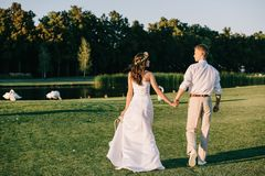 back view of young wedding couple holding hands and walking near lake with beautiful swans stock image