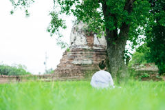 Back view. young woman be meditation on green grass field under. Back view. young asia woman be meditation on green grass field under big tree with old pagoda Stock Photo