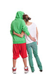 Back view of young woman and man royalty free stock photos
