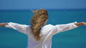 Back view of young woman with wind in her hair raising her hands on top of cliff above beautiful sea. Concept freedom. And relax stock video footage