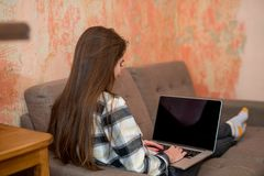 Back view of a young woman working on laptop sitting at sofa. Freelance concept stock photos