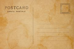 Back of vintage blank postcard. With space for text stock photography