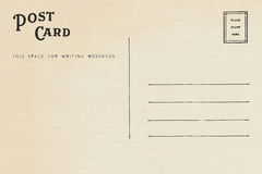 Back of vintage blank postcard. Isolate on white background stock photos