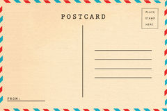 Back of vintage blank postcard. Isolate on white background royalty free stock photo