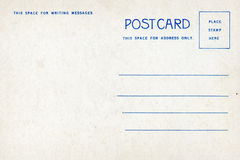 Back of vintage blank postcard Royalty Free Stock Photography