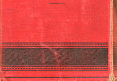 Back of vintage book. Fine-grained motive with red and black texture. Stock Photography