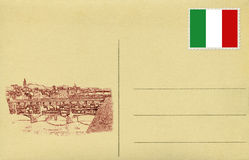 Back of vintage postacard with Italian flag and Ponte Vecchio of Royalty Free Stock Photos