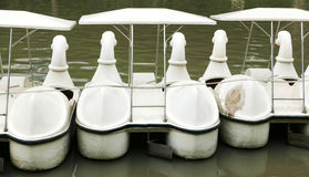 The back of vintage white duck recreation boat Royalty Free Stock Image