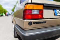 Back from a Volkswagen Jetta II. ALTENTREPTOW / MECKLENBURG- WEST POMERANIA / GERMANY - MAY 1, 2018: Back from a Volkswagen Jetta II. This car stands on a street royalty free stock photo