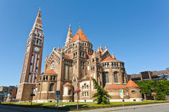 The back of the votive church. Szeged, Hungary royalty free stock photo