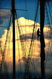 Back from voyage. Sails are wrapped up back from voyage Stock Photography