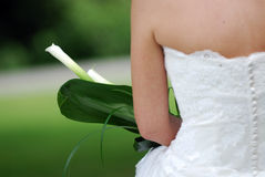 Back of wedding dress. Back view of bride in wedding gown, holding flowers Stock Images