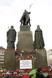 Back of the Wenceslas monument with candles Stock Photos