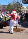 Back of white haired man with bright red and white clothing and cane at March for Life Tulsa Oklahoma USA 3 24 2018 stock photos