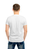 Back white t-shirt on a young man Stock Photography
