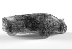 Back of wireframe car Royalty Free Stock Photo