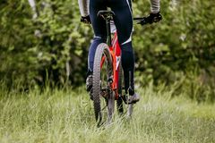 Back woman cyclist royalty free stock images