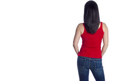 Back of a Woman with Long Black Hair Royalty Free Stock Photography