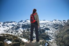 Back woman red rucksack Stock Images