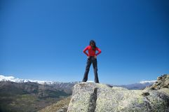 Back woman at the top Stock Photo
