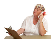 Back At Work. A medical patient returning to work after chemotherapy Stock Photo