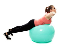 Back workout on a gym ball Stock Photography