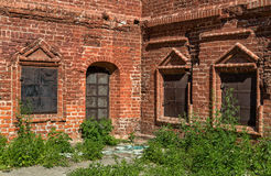 Back yard of the ancient monastery. Grassy back yard of the ancient monastery in Moscow, Russia Stock Photo