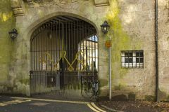 The back yard annex arched gateway to the courtyard at the Bangor Town Hall in Northern Ireland now open as a coffee shop royalty free stock photo