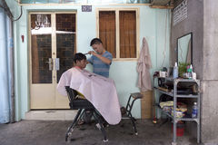 Back yard barber in Saigon Royalty Free Stock Photo