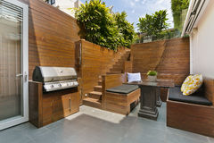 Back yard with outdoor seating Royalty Free Stock Images