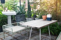 Back yard with outdoor seating, Home and garden concept. Small home royalty free stock images