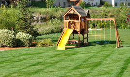 Free Back Yard Wooden Swing Set Royalty Free Stock Images - 11077939