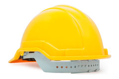 On back yellow safety helmet on white background Royalty Free Stock Photography