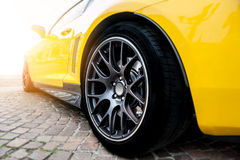 Back of a yellow sport car Royalty Free Stock Photography