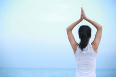Back of yoga woman Stock Image