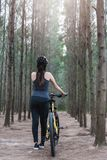 Back young female woman helmet catch bicycle Stock Photo