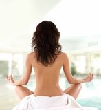 Back of a young and fit meditating brunette Royalty Free Stock Photography