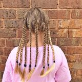 Back of Young lady with plaited hair. Back view of a young lady with long blonde plaited hair i stock image