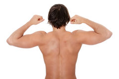 The back of young man. Isolated on white background Stock Images