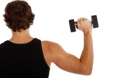 Back of a Young Man Lifting Weights Stock Images