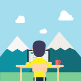 Back Young man yellow shirt work around nature. With tab work screen on computer,laptop and red cup on table.illustration man work in nature,field mountains Stock Images