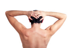 Back of young naked man Stock Images