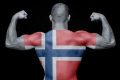 The concept of national pride and patriotism. The back of a young sporty man wearing a T-shirt with the national flag of Norway on a black isolated background royalty free stock images